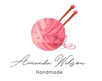 Knitting Premade Logo Yarn Logo Needles Logo Design Sewing Logo knit Handmade Clothes logo Watercolor Custom Business Card Branding PL411