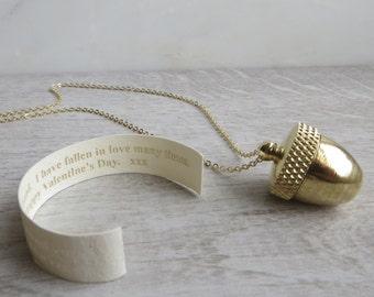 Secret Message Acorn Locket Necklace