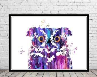 Owl, owl print, bird print, owl, watercolor owl, home decor, watercolor print bird, animal art, bird art, bird (2950b)