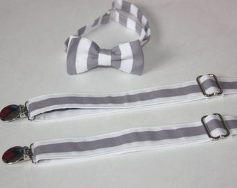 Gray and White Stripe Bow Tie and Suspenders set Wedding ( Men, boys, baby, toddler, infant Suspender and Bowtie ) outfit