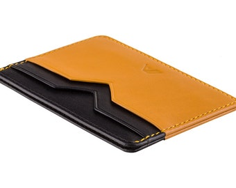 Super Slim Leather Card Holder / Card Wallet - A-SLIM - Black/Yellow - Yaiba - Credit Card Wallet - Cardholder - Card Case - Handmade