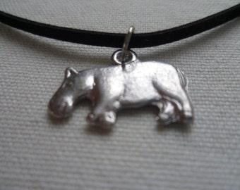 Hippo choker, choker necklace,silver hippo, black choker,hippo necklace, gift,hippo jewelry,animal jewelry, small hippo, simple jewelry