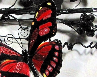 Butterfly Embellishments Rose Red