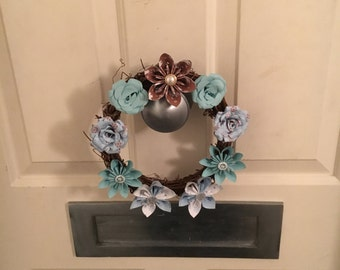 Mini blue Christmas Paper Flower Wreath