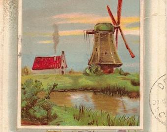 Vintage Victorian Best Wishes Postcard Windmill & Flowers