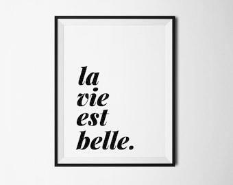 La vie est belle, french quote, french print, french printable, french digital, printable art, printable quote, french quote