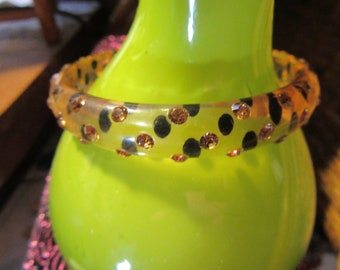 Lucite Yellow/Gold Bangle Bracelet with Black Polka Dots and Yellow/Gold Rhinestones
