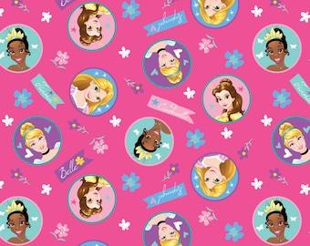 Disney Fabric Princess Badge Cinderella Rapunzel Belle Tania Fabric From Springs Creative 100% Cotton