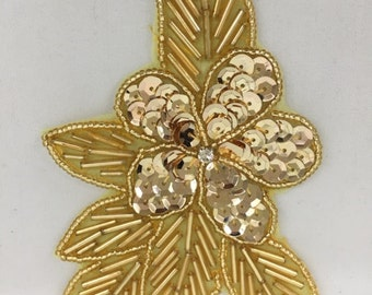 Vintage Gold Sequin and Bead Flower With Rhinestone Center, Also Comes In Silver and Gold, Great For Costumes, 5 inches tall 3 inches wide.
