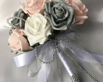 Artificial Wedding Flowers, Brides, Bridesmaids, Flower girls Posy Bouquet with Baby Pink, Grey and White Roses with crystal loops