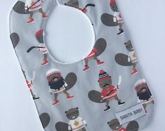 Baby Bib - Baby - Beavers Bib - Baby Gift - Gender Neutral Bib - Baby Shower Gift - Gift for Baby - Bibs & Burping - Hockey - Canada