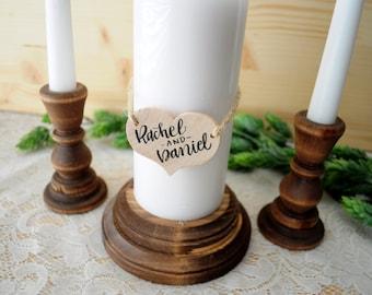 Personalized Wood Unity Candle Holder Set Rustic Unity Candle Holder Wedding Unity Candle Unity Candlesticks Ceremony Wooden Unity Set