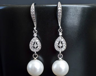 Bridal Earrings, Bridal Pearl Earrings, Dangle Pearl Earrings, Pearl Drop Earrings, White/Ivory Pearl Wedding Earrings