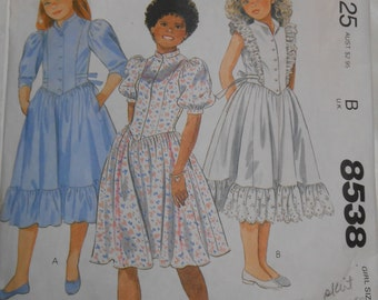 Vintage PATTERN McCalls 8538 Girls' Dress Size 7 Breast 26""