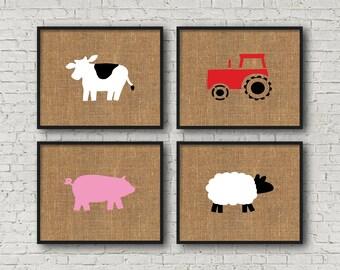 Farm Nursery Burlap Art Prints // Kids Wall Art Farm Animals