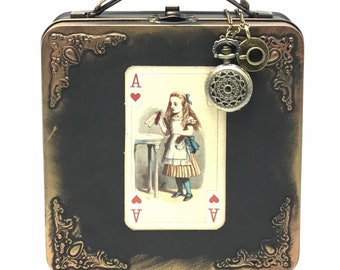AliCE in WONderland purse lunch box case white RABbit pocket watch charm necklace tea Pot cup Time party Steampunk style