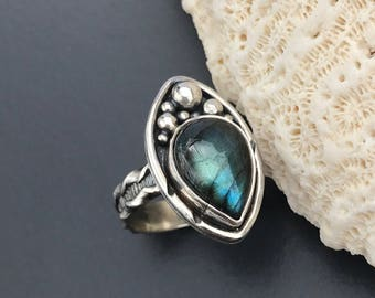Blue Labradorite Ring Size 6 1/2 Sterling Silver Handcrafted Silversmith Water Blue Stone Ring, Art Ring with Nautical Theme
