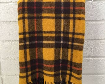 Vintage Mustard Plaid Wool Blanket