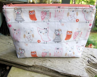 Zippered Pouch | Makeup Bag | Lined Zipper Bag | Girlie Owl Fabric | Girl Owl Fabric Makeup Bag | Small Gift Under 20 | Camera Accessory Bag