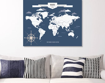USA Map, Family Map, World Map Art, Interactive Travel Map, Housewarming Gift // Choose Art Print or Canvas// H-I05-1PS AA4