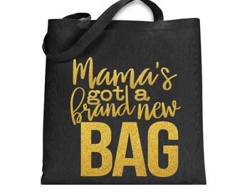Canvas Tote Bag, Black Tote Bag, Canvas Diaper Bag