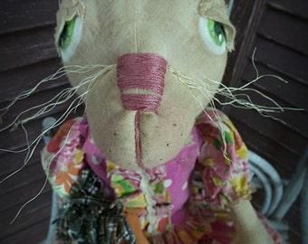 VERY Primitive, Folk Art, Easter, Spring, Holiday, Bunny Rabbit, Rabbit, Bunny, Carrot, Hafair, TeamHaHa, Pink, Ladybug, OOAK, Doll by Musta