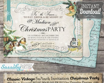 Classic Vintage Christmas Invitation - INSTANT DOWNLOAD - Partially Editable & Printable Elegant Invite, Aqua, Blue, Ice, by Sassaby Parties