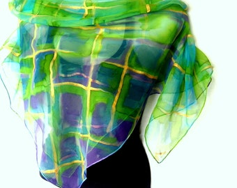 "Hand Painted Silk Scarf, Checked, Blue Green Gold Purple, 35"" Square Silk Chiffon Scarf, Gift Under 50"