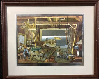 Lionel Barrymore Nautical Gold Foil Etching Prints 'Old Boat Works', 'Water Front', 'Home Port'