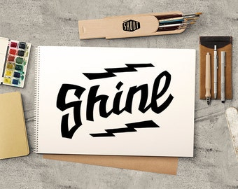 SHINE, Black and White, Print, Inspirational Quote, Wall Art, Typographic Art, Shine on, Typography Art, Typographic Print, Print Quote