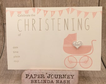 Hand Stamped Christening Invitations - pack of 10