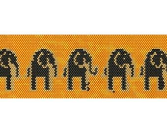 Elephants Peyote Cuff Beaded Bracelet Pattern