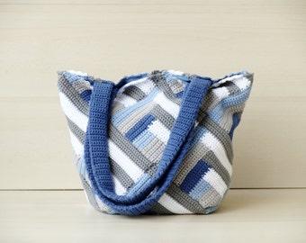 Blue crochet tote bag large handbag crochet shoulder bag granny bag boho  tote bag stripes nautical purse crochet handbag boho hippie purse