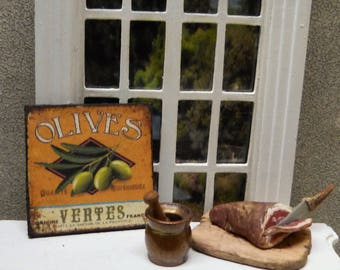 """""""OLIVES"""" Miniature wall plate 1/12 scale - Dollhouse Miniature kitchen decor accent"""
