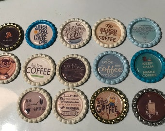 Coffee Lovers  Refridgerator Bottle Cap Magnets,sold as a set of 9, 14 choices