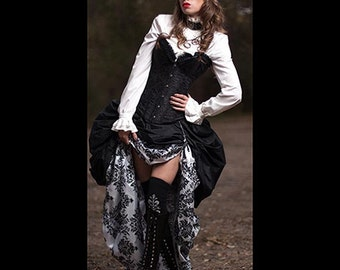 Ready to ship 3PC Black SATIN Corset with black&white skirt, short black Damask DOUBLE Bustle, Steampunk, Victorian, Cosplay, Costume, Dress