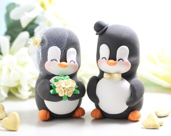 Unique wedding cake toppers figurines bride groom Penguins - elegant funny personalized black white ivory gold cute gift anniversary