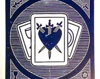 Fortune Teller Tarot Linocut Print Witchcraft Theme