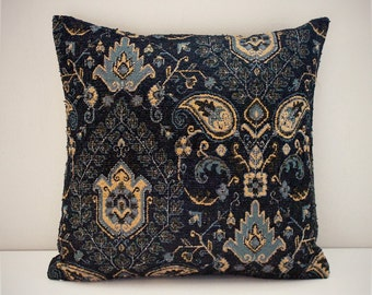 Blue paisley tapestry cushion cover