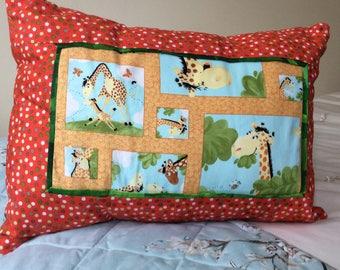 Orange giraffe cushion
