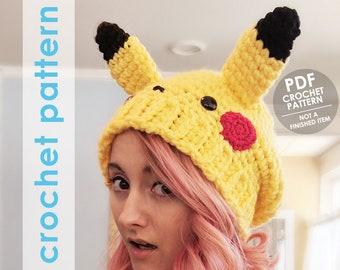 crochet pattern, pokemon crochet pattern, slouchy hat crochet pattern, pikachu hat, pokemon, crochet hat,  pokemon hat, pokemon cosplay