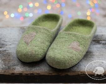 Mindfulness gift for husband gift for him Mens Slippers Green slippers House Shoes Felt slipper House Slippers Warm Slippers