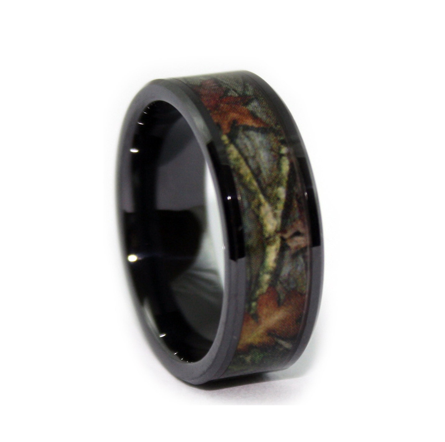 Black Camo Wedding Rings by ONE CAMO 8mm Black Rings