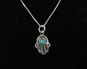 Sterling Silver Hamsa Pendant Necklace with Turquoise Bead