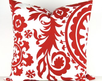 Red Suzani Pillow Cover -MANY SIZES- lipstick white floral decorative throw euro sham cushion modern contemporary premier prints 28 22
