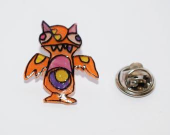 Winged alien shrink plastic pin