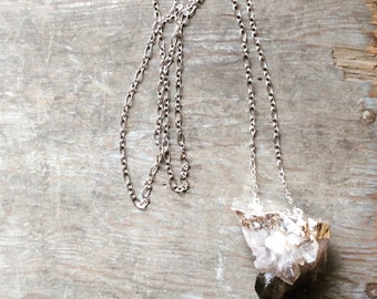 Sterling Silver Electroplated Elestial Smoky Quartz Crystal Necklace - Extra Large Free Form Crystal