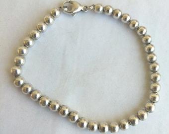 """Vintage Sterling Silver Beaded Bracelet 5.5mm Beads 7"""" inch Sterling silver 925 Ball Beaded Bracelet 6.10 Grams"""