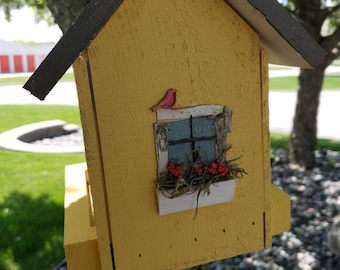 Yellow and grey bird feeder with rustic decor. Hanger included or can add bottom mount. Plexiglass sides.