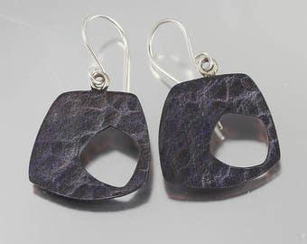 Modern Water Texture Purple Patina Dangles